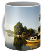Boat On Sandy Beach Coffee Mug