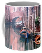 Boats Bridge And Reflections In A Venice Canal Coffee Mug