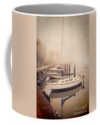 Boats In Foggy Harbor Coffee Mug