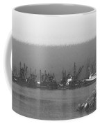 Boats In Harbor Charcoal Coffee Mug by Chalet Roome-Rigdon
