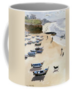 Boats On The Beach Coffee Mug by Lucy Willis