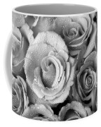 Bouquet Of Roses With Water Drops In Black And White Coffee Mug