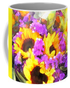 Bouquet Of Sunflowers And Purple Statice Coffee Mug