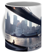 Boy Freighter Brooklyn Bridge Sunset Coffee Mug