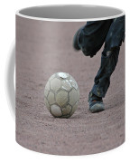 Boy Playing Soccer With A Ball Coffee Mug