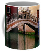 Bridge And Striped Poles Over A Canal In Venice Coffee Mug