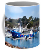Bright Blue Fishing Ship Coffee Mug