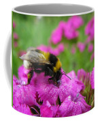Bumble Bee Searching The Pink Flower Coffee Mug