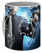 Businessman Touching World Map Screen Coffee Mug by Setsiri Silapasuwanchai