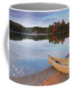 Canoe On A Shore Autumn Nature Scenery Coffee Mug