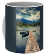 Canoes At Dock On Mountain Lake Coffee Mug by Jill Battaglia