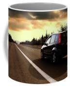 Car On The Road During Sunset Coffee Mug