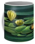 Card Of Frog With Lily Pad Flowers Coffee Mug