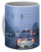 Cars And Traffic Lights In A Rain Storm Coffee Mug