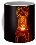 Carved Smiling Pumpkin On Chair Coffee Mug