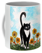 Cat Walk Through The Sunflowers Coffee Mug