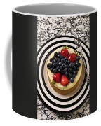 Cheese Cake On Black And White Plate Coffee Mug