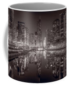 Chicago River East Bw Coffee Mug by Steve Gadomski