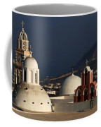 Churches In Fira Greece Coffee Mug