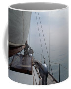 Classic Wooden Sailboat With No Horizon Off The Bow Coffee Mug