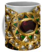 Close Up Of The Middle Pendant Section Of A Green And White Stone Inlaid Necklace Coffee Mug by Ashish Agarwal