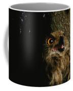 Close View Of Owl Near A Tree Trunk Coffee Mug