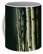 Close View Of Several Aspen Tree Trunks Coffee Mug