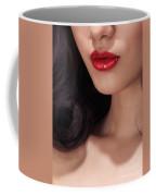Closeup Of Woman Red Lips Coffee Mug