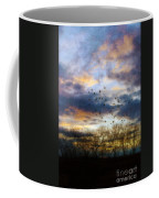 Cloudy Sunset With Bare Trees And Birds Flying Coffee Mug