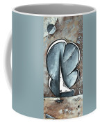 Coastal Art Contemporary Sailboat Painting Whimsical Design Shining Sea By Madart Coffee Mug