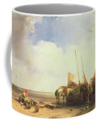 Coastal Scene In Picardy Coffee Mug by Richard Parkes Bonington