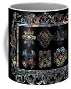 Coffee Flowers Ornate Medallions 6 Piece Collage Aurora Borealis Coffee Mug