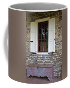 Colonial Shutters Window Frame Stone Wall Wood Box Coffee Mug
