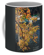 Colorful Fall Leaves Over Blue Water Coffee Mug