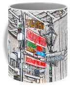 Colorful Neon Sign On Bourbon Street Corner French Quarter New Orleans Colored Pencil Digital Art Coffee Mug