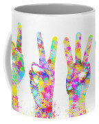 Colorful Painting Of Hands Number 0-5 Coffee Mug by Setsiri Silapasuwanchai
