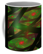 Computer Generated Green Triangles Abstract Fractal Flame Abstract Art Coffee Mug