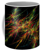 Computer Generated Red Green Abstract Fractal Flame Black Background Coffee Mug