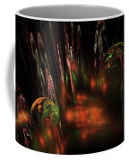 Computer Generated Red Green Abstract Fractal Flame Modern Art Coffee Mug