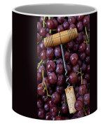 Corkscrew And Wine Cork On Red Grapes Coffee Mug