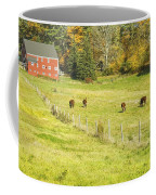 Cows Grazing On Grass In Farm Field Fall Maine Coffee Mug