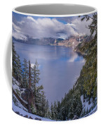 Crater Lake And Approaching Clouds Coffee Mug