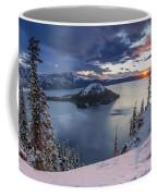 Crater Lake Snow Sunrise Coffee Mug