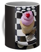 Cupcake With Heart On Checker Plate Coffee Mug by Garry Gay