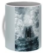 Dark Angel Kneeling On Stairway In The Clouds Coffee Mug