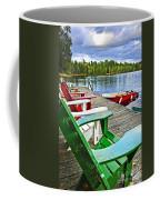 Deck Chairs On Dock At Lake Coffee Mug