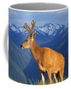 Deer With Antlers, Mountain Range In Coffee Mug