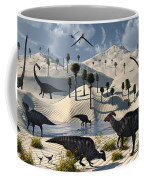 Dinosaurs Gather At A Life Saving Oasis Coffee Mug