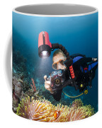 Diver And Anenome Fish Coffee Mug