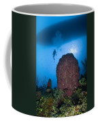 Diver And Barrel Sponge, Belize Coffee Mug
